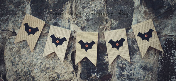 Bat Halloween Bunting on Book Paper