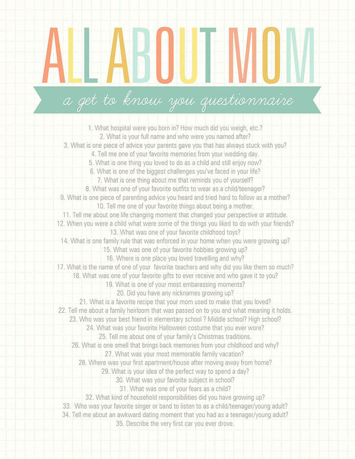 Get to know Mom with this All About Mom printable questionnaire!
