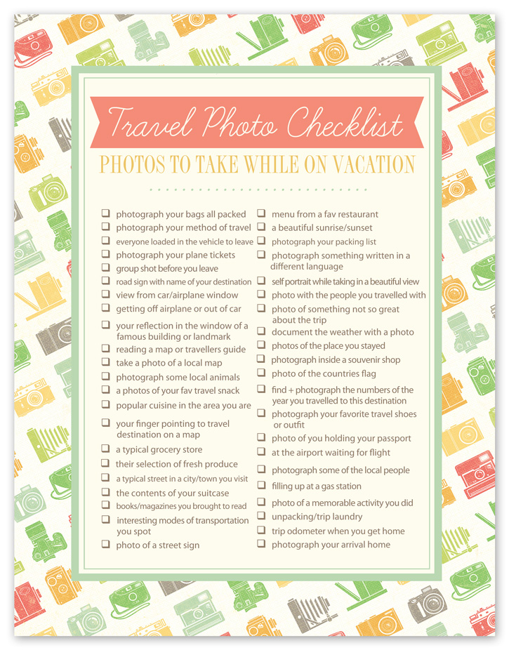 Travel Photo Checklist  Free Download