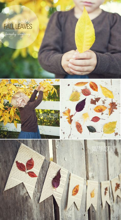 Create a simple fall bunting using book pages and beautiful pressed leaves.