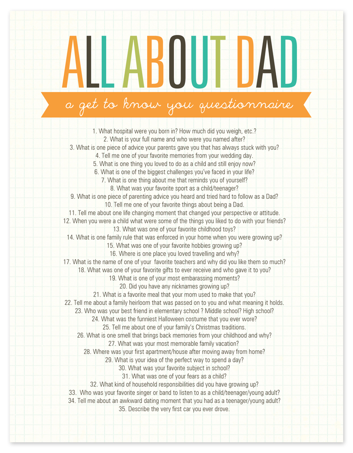 graphic about Dad Questionnaire Printable called All concerning Father Questionnaire No cost Printable