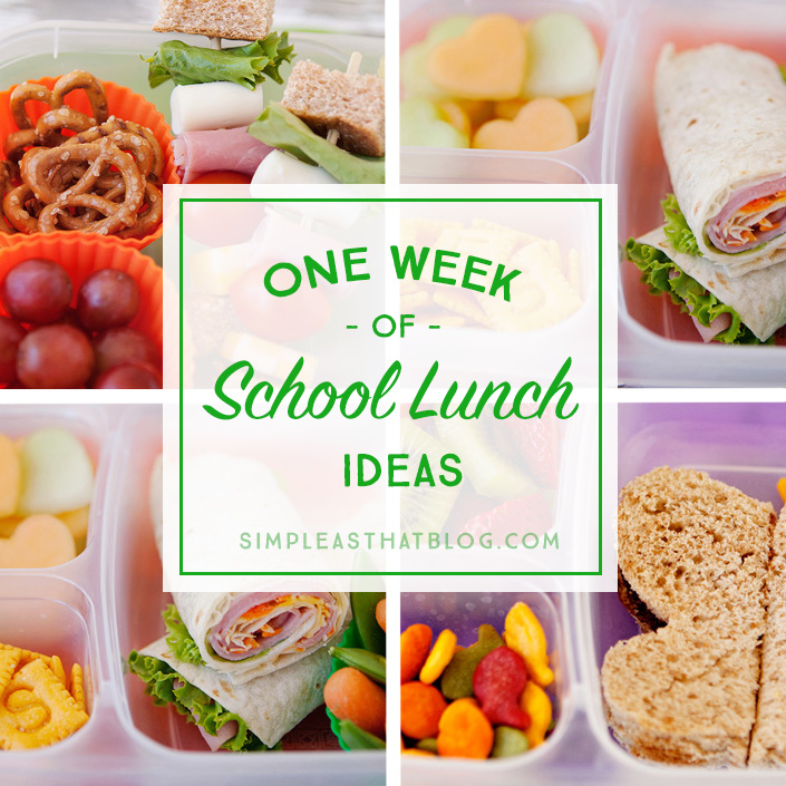 A weeks worth of simple, healthy school lunch ideas that go beyond the typical PB&J!  I don't know about you, but I'm always on the lookout for quick + healthy school lunch ideas for my kids! Lunches that aren't to complicated to throw together in the morning rush. Lunches that are wholesome, affordable and that my kids will actually eat!    Today I'm excited to share a weeks worth of school lunch ideas that are healthy + that your kids are sure  to love! They've been tried and tested by my own kiddos, keep reading to see which lunches were their favorites + find out some of my tips for keeping lunch making simple.