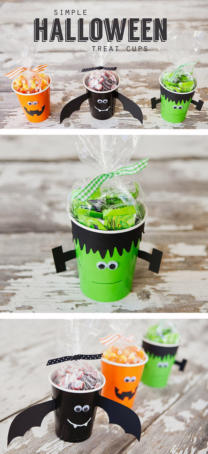 Make these simple Halloween Treat Cups for your next classroom party or holiday get together.
