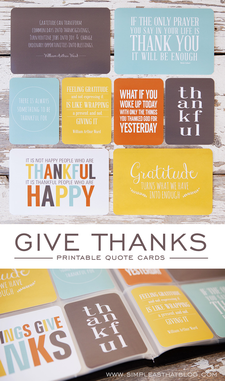 Free Give Thanks Printable Quote Cards