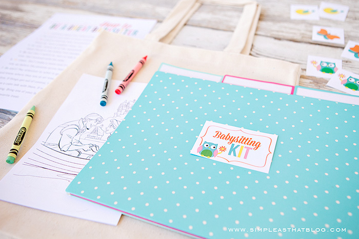 Create a simple babysitting kit with this set of free printables.