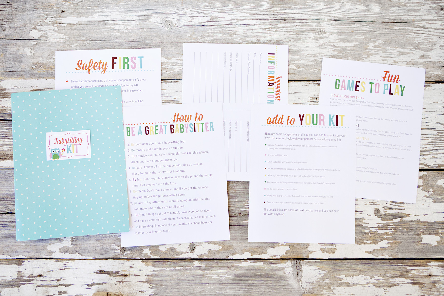 babysitting kit printables create a simple babysitting kit this set of printables