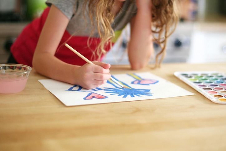 Spring Watercolor Art Lesson for Kids