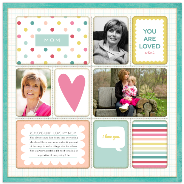 Scrapbook layout created using FREE Mother's Day themed journaling and filler cards.