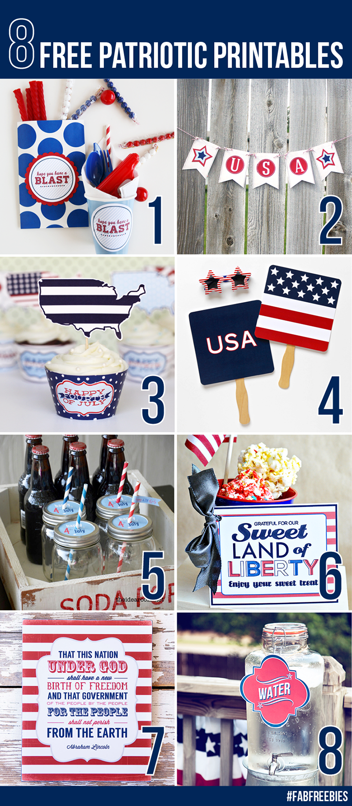 8 Free Patriotic Printables from your favorite bloggers!