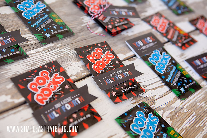 Printable Pop Rocks gift tags for July fourth