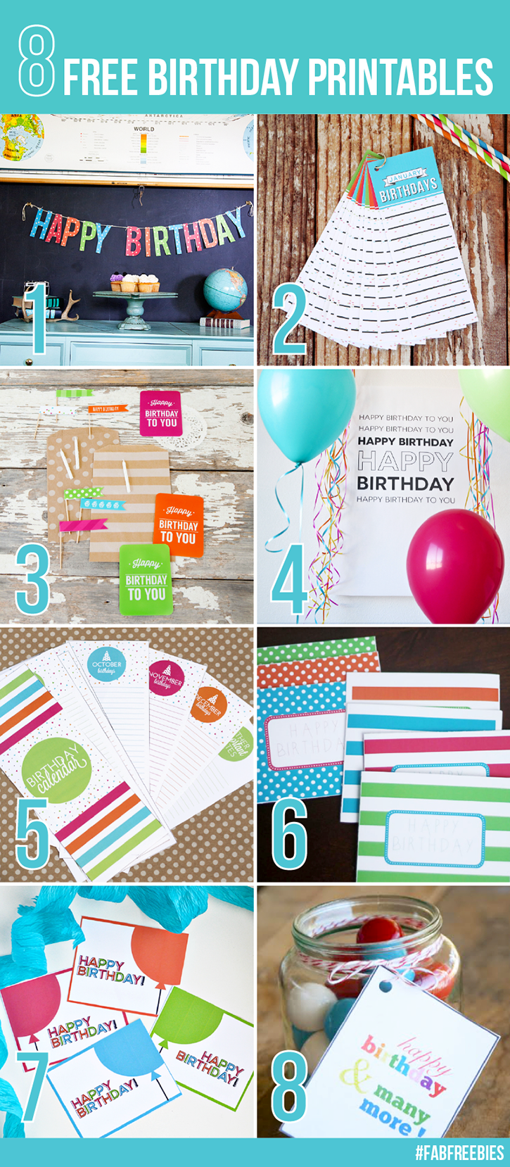 8 FREE Coordinating Birthday Printables
