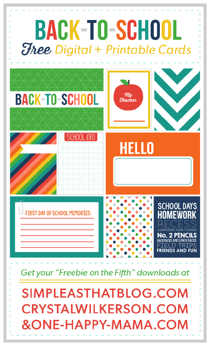 FREE! Printable Back to School Journaling and Filler Cards