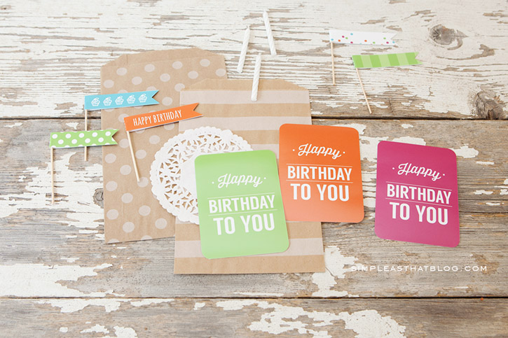 Printable Birthday gift tags and cupcake flags