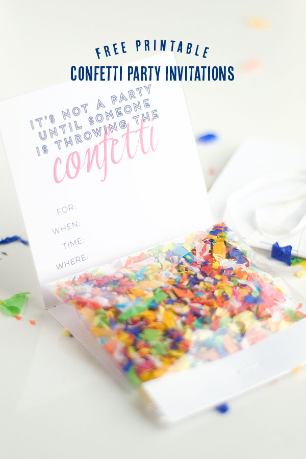 Confetti Invitation with free printable