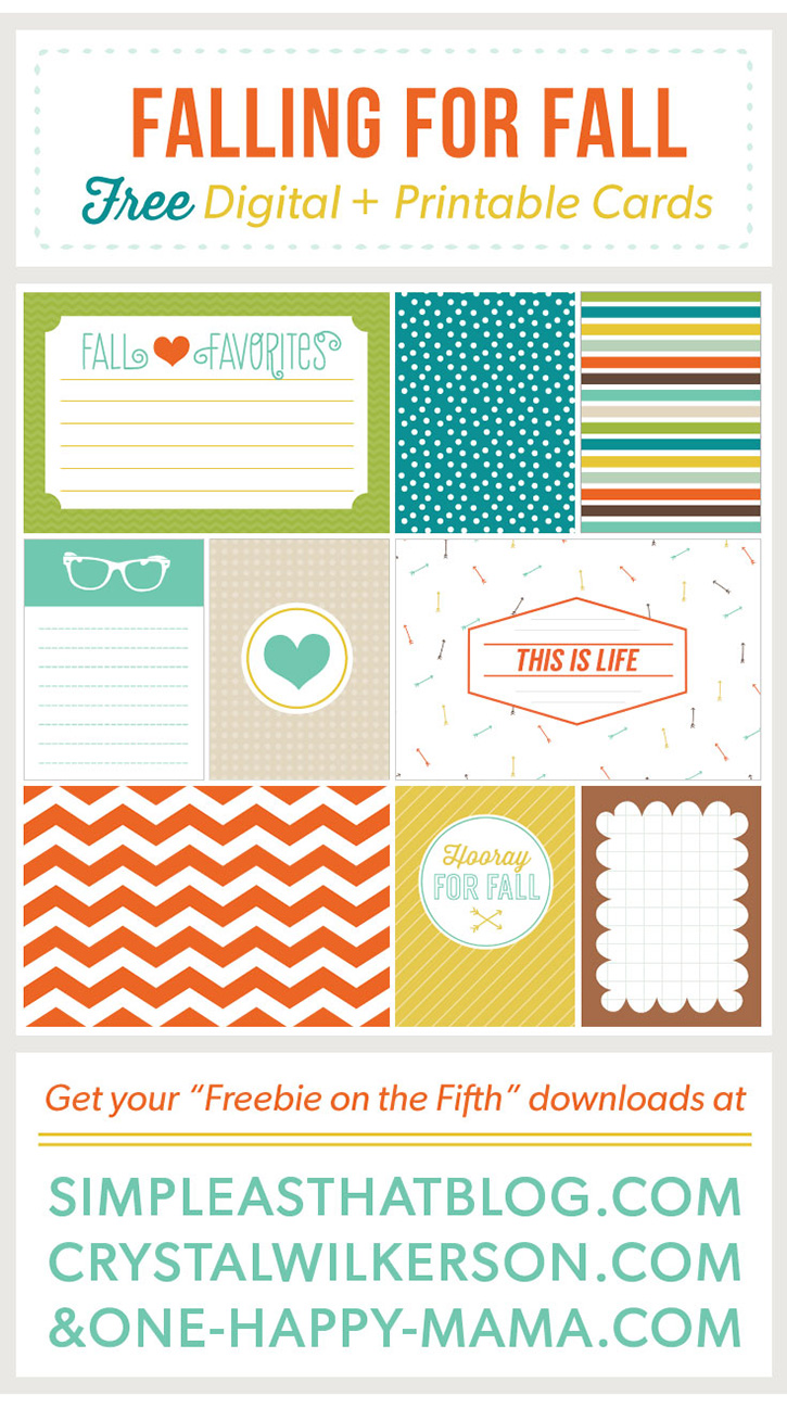 Free printable Fall themed journaling and filler cards.