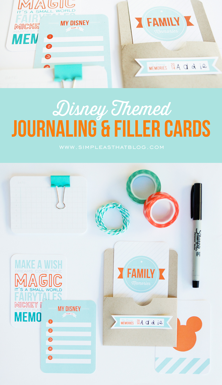Disney Themed Journaling and Filler Cards | Free Printables