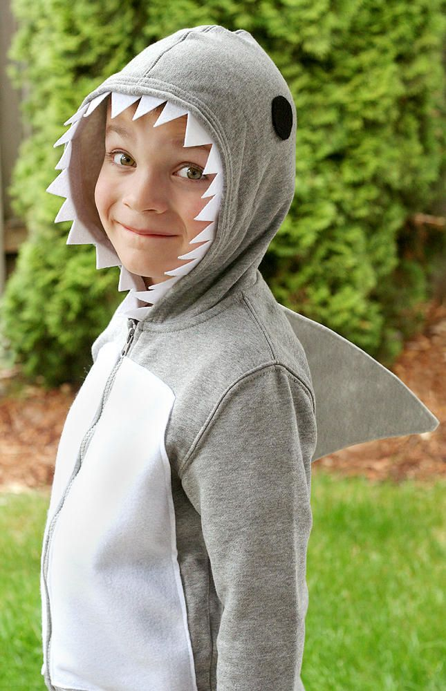 Easy Shark Costume using a Hoodie