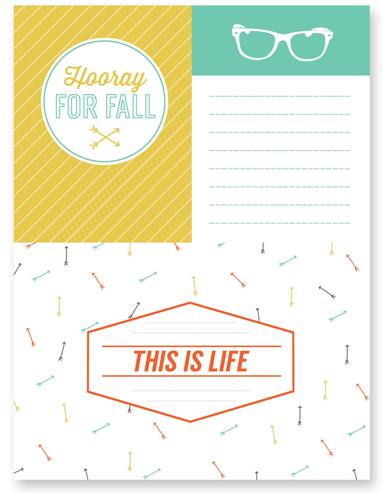 Free Fall themed journaling and filler cards.