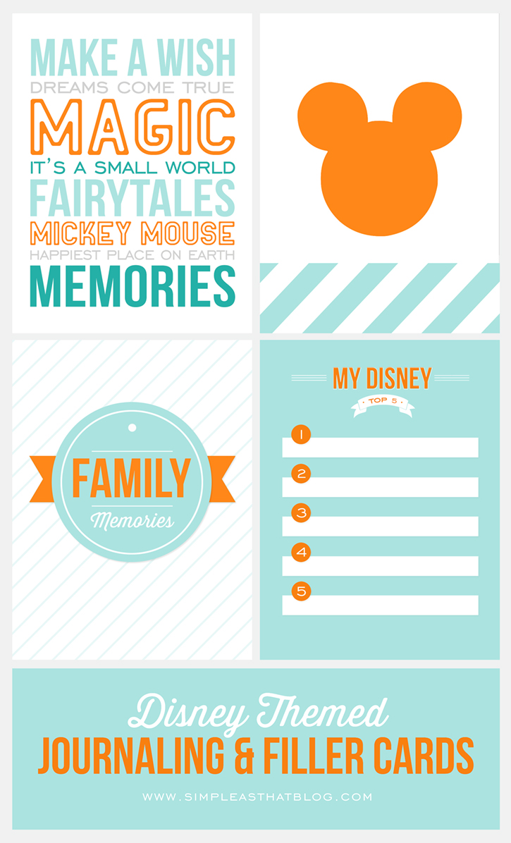 Free Printable Disney Themed Journaling and Filler cards for recording your Vacation memories