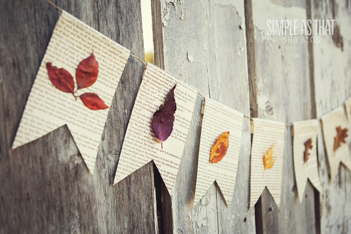 Fall Leaf Book Page Bunting