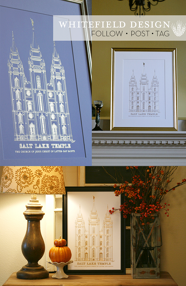 Whitefield Design Gold foil Temple Print