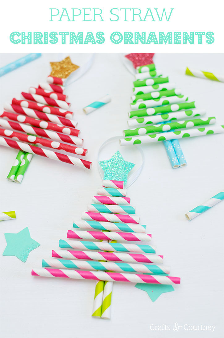 Kids decorative paper straw christmas tree ornaments for Holiday project