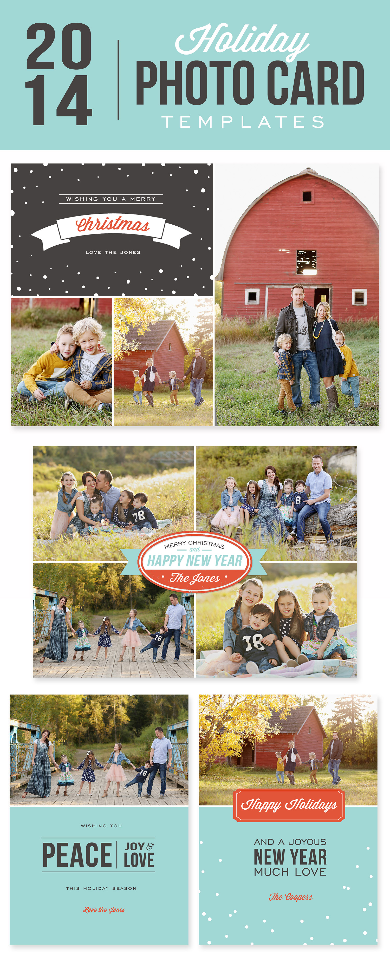 DIY Photo Cards with Digital Templates. Creating your own, personalized holiday cards is easy with these simple to use premade digital templates!