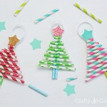 Kids Decorative Paper Straw Christmas Tree Ornaments