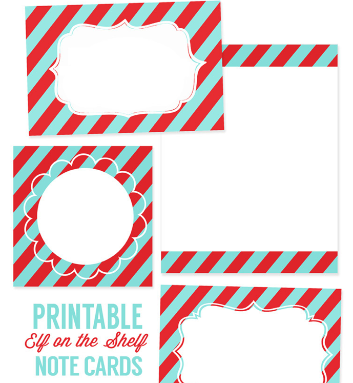 Printable Elf on the Shelf Notecards