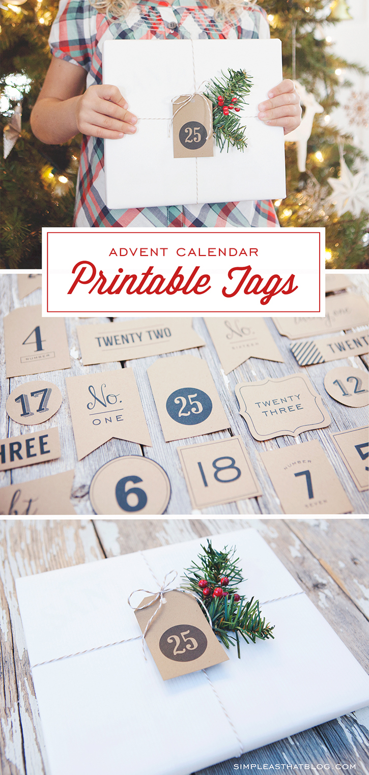 Use these printable Advent Calendar or Christmas Countdown Tags to create your own advent calendar or to label packages in your Christmas book countdown. There are so many uses for these little tags this holiday season.