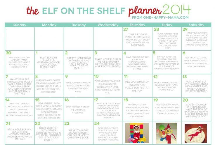 Printable Elf on the Shelf Calendar
