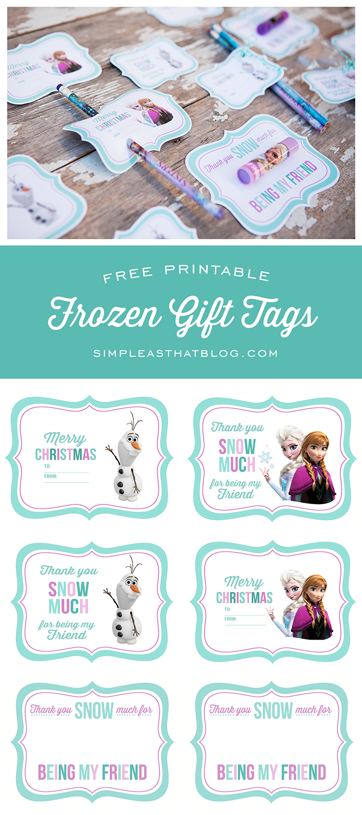 Free Printable Disney Frozen Gift Tags Simple As That
