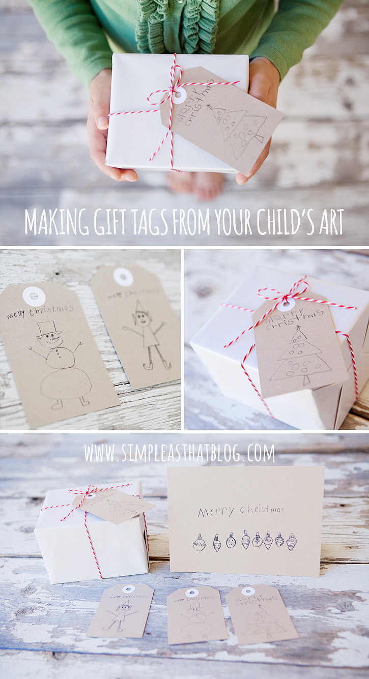 Make simple christmas gift tags from children 39 s art for Simple gifts to make