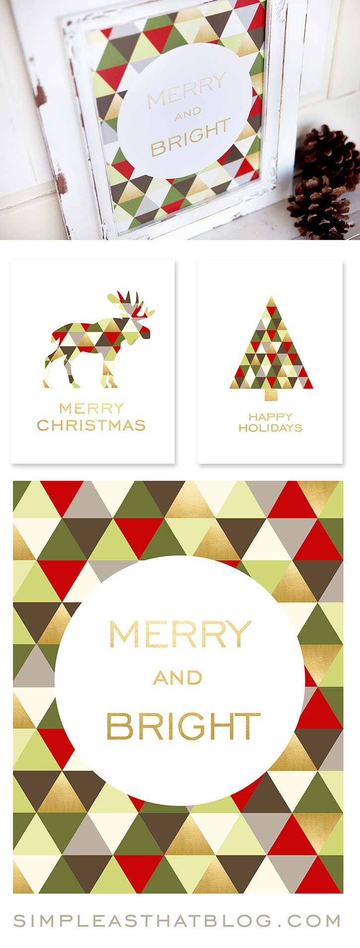 merry bright christmas printables for framing