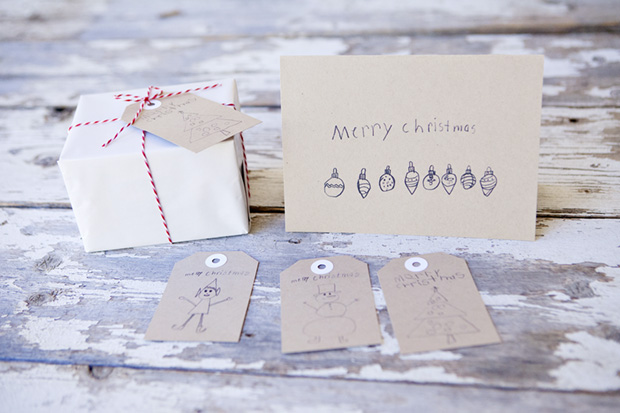 Christmas gift tags from children's art