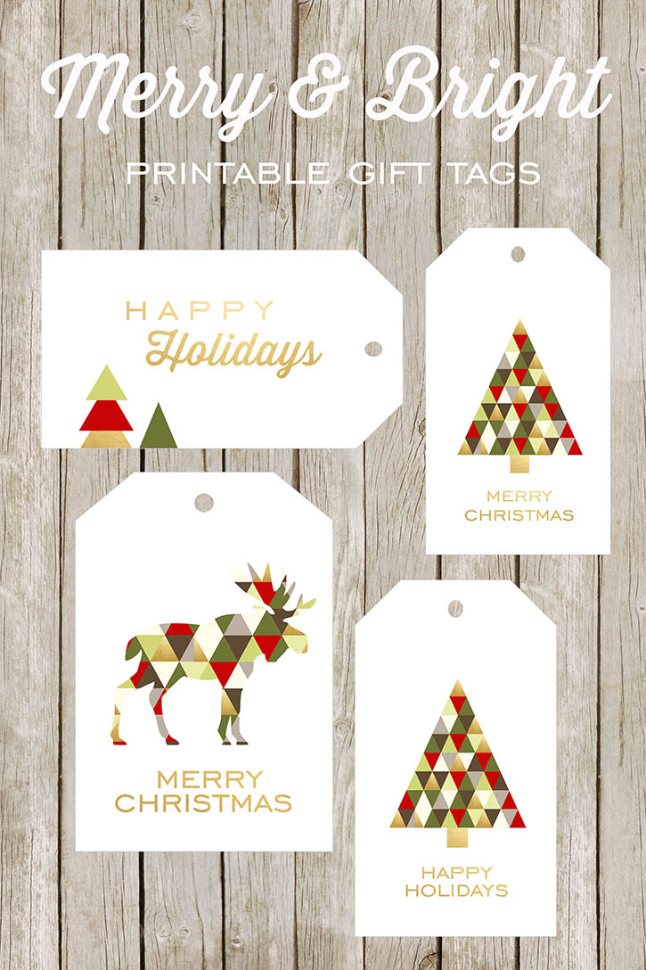 graphic relating to Free Printable Gift Tags Christmas referred to as Merry and Vibrant Printable Present Tags