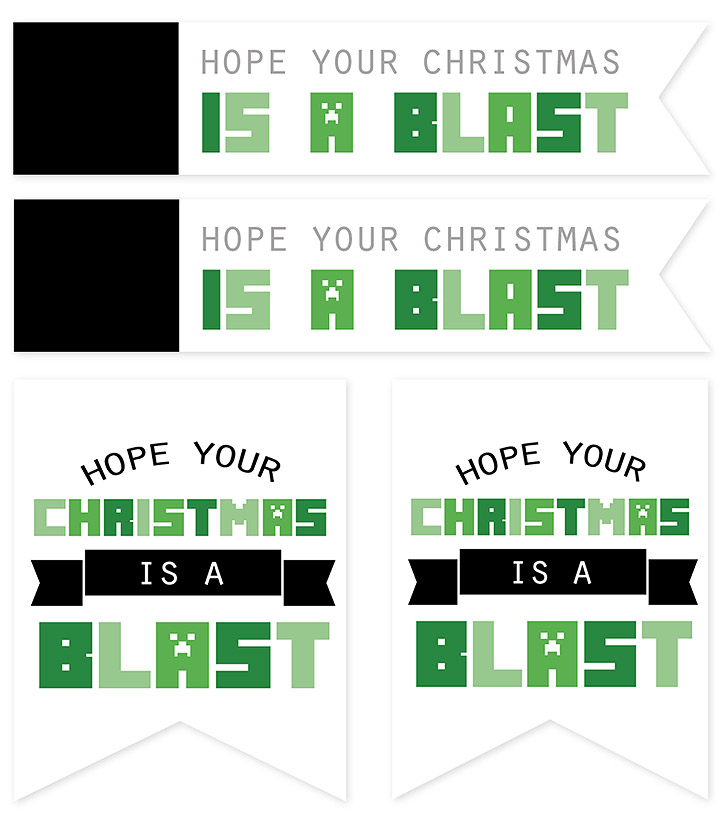 Christmas creeper candy boxes and FREE printable Minecraft gift tags.