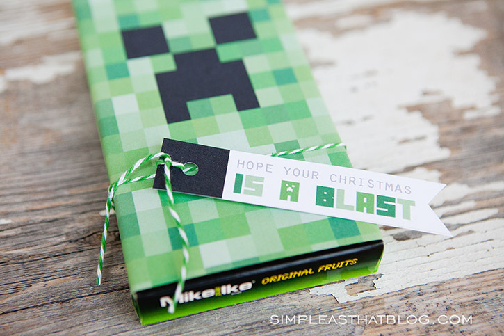 Christmas Creeper Candy Boxes And FREE Printable Minecraft Gift Tags