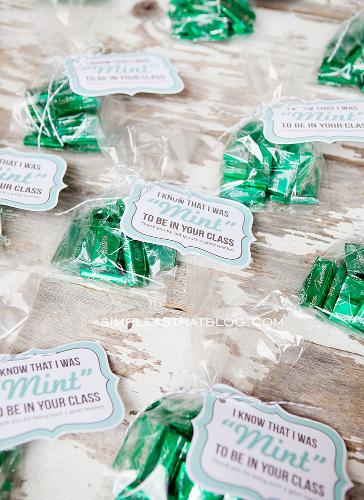 Teacher Gift Idea and free printable 'mint to be' Gift Tags