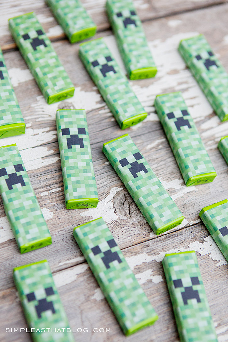 Free printable Minecraft valentines with creeper gum wrappers.
