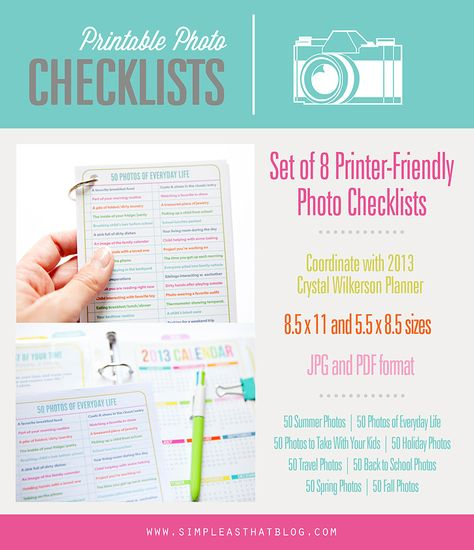 Printable Photo Checklists to help you capture every season!