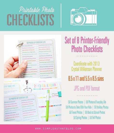 Printable Photo Checklists to help you capture every season!