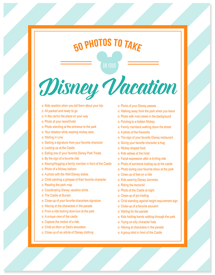 50 Photos To Take On Your Disney Vacation - Free Photo Checklist