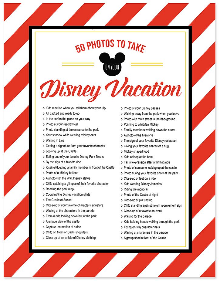 Photos To Take On Your Disney Vacation  Free Photo Checklist