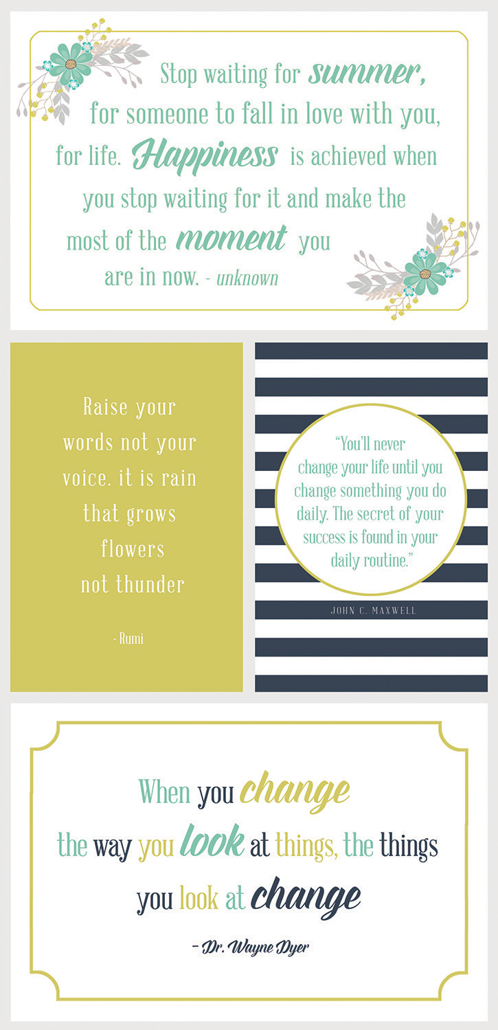 "Free printable 4""x6"" inspirational quotes - display around your home or print and add to an album. Available at simpleasthatblog.com"