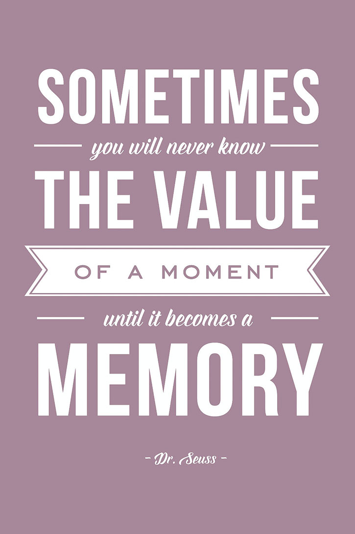"""Sometimes you will never know the value of something,until it becomes a memory."" ― Dr. Seuss."