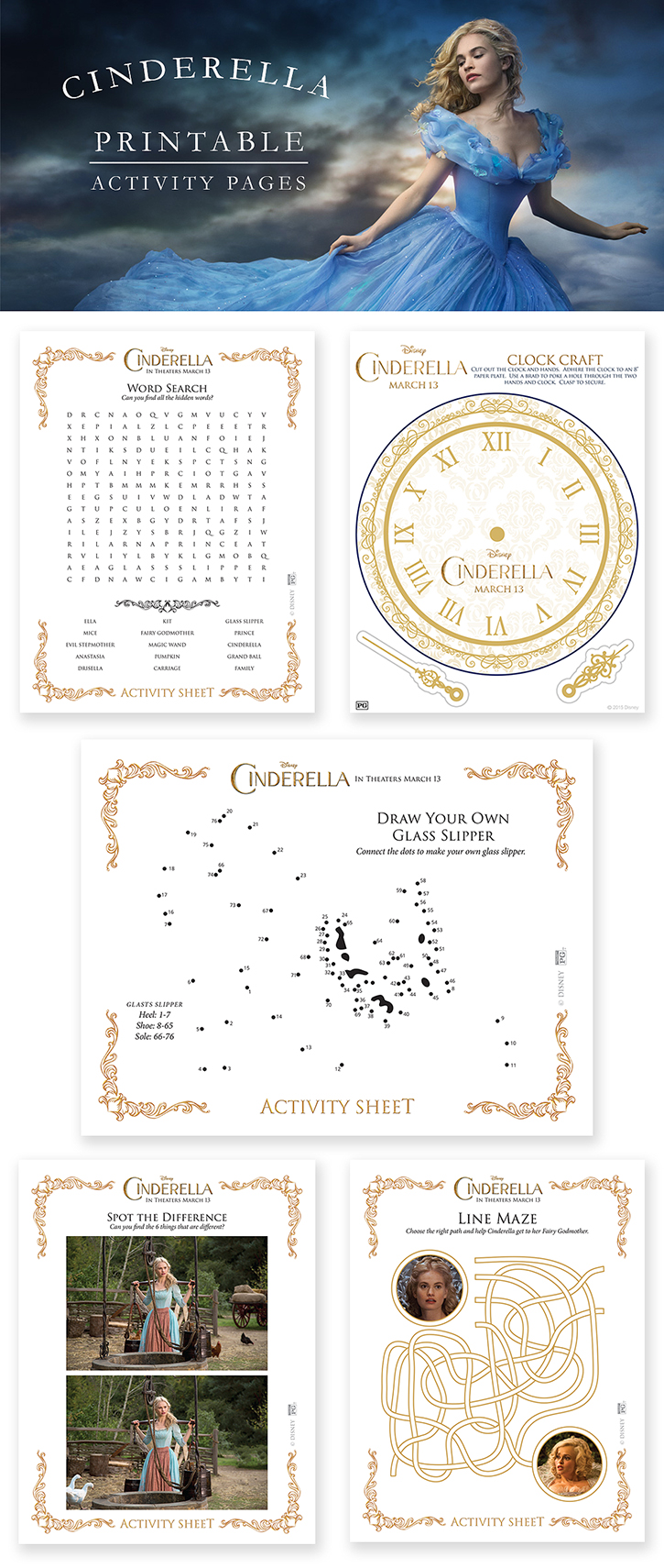 Printable Cinderella activity pages