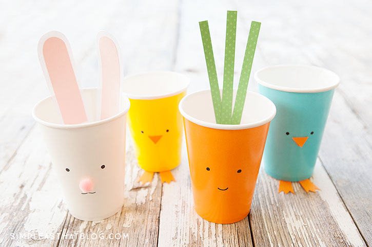 Simple Easter Treat Cups – quick and inexpensive fun for the kids this Easter season! These cute cups are perfect for party favours, classroom treats and double as an easy Spring craft!