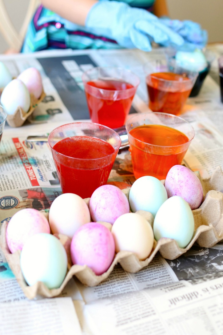 Dying Easter Eggs.