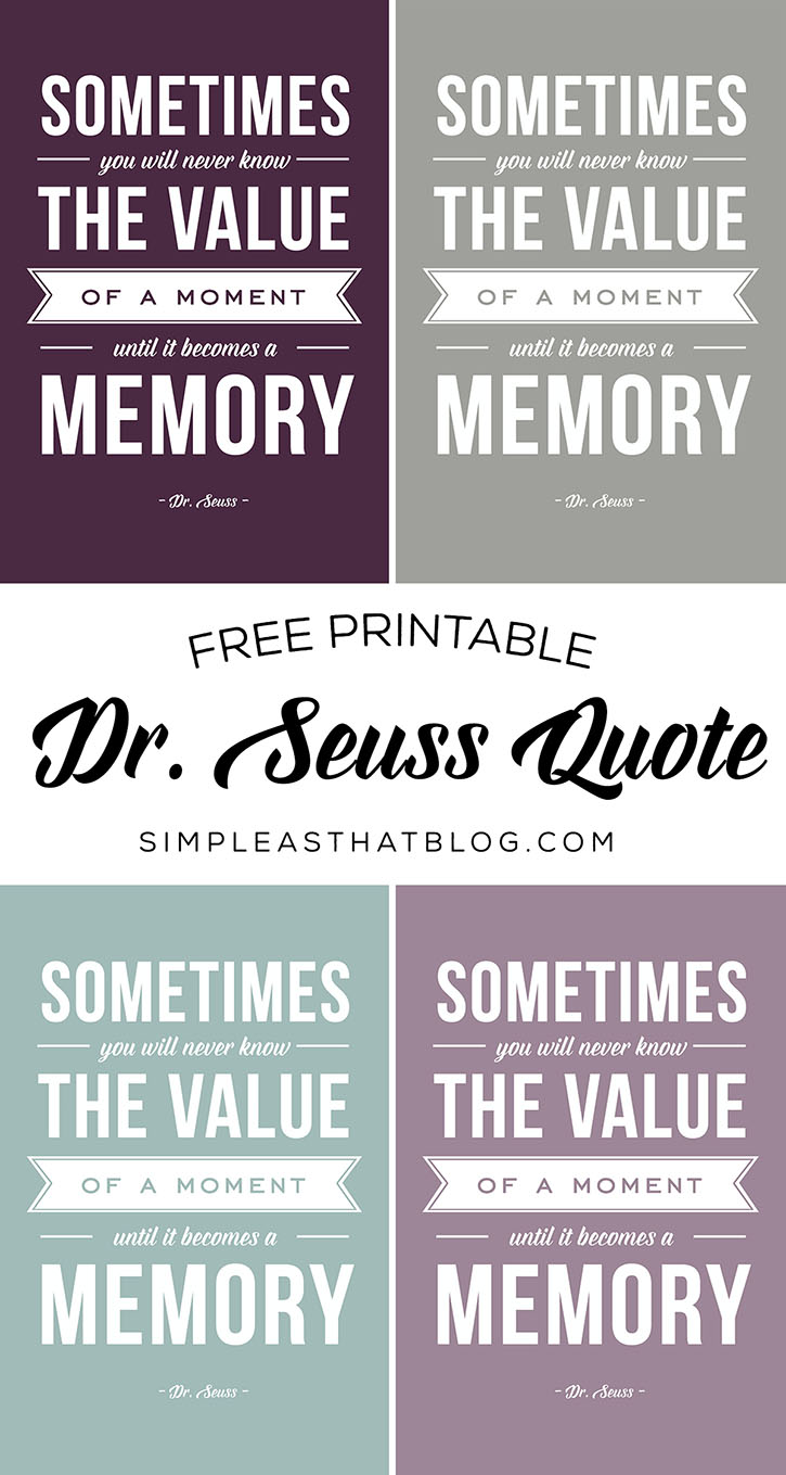 photo regarding Dr Seuss Printable Quotes identify The Significance of a Minute - Printable Dr. Seuss Quotation